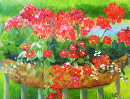 Geraniums in Basket by Marcia  Hero