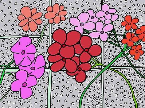 Geraniums in snow by Nicholas Brockbank