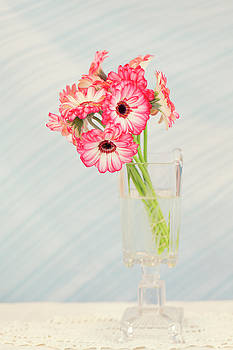 Gerbera Daisies in Footed Vase by Susan Gary