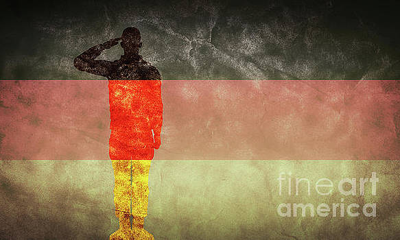 Michal Bednarek - German grunge flag with soldier silhouette.