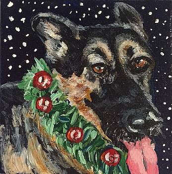 German Shepherd Christmas by Melissa Torres