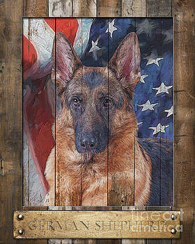 German Shepherd Flag Poster by Tim Wemple