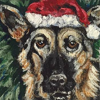 German Shepherd Santa by Melissa Torres