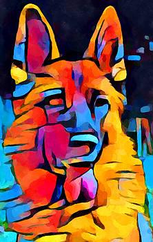 German Shepherd Watercolor by Chris Butler