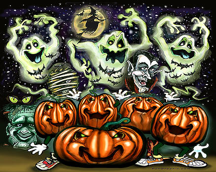Ghostly Trio Pumpkin Party by Kevin Middleton