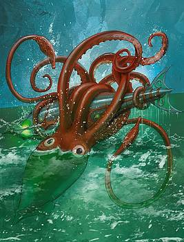 Giant Squid and Nautilus by Andy Catling
