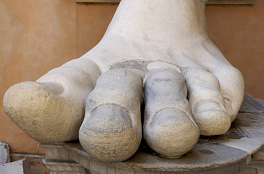 BERNARD JAUBERT - Gigantic foot from the statue of Constantine. Rome. Italy.