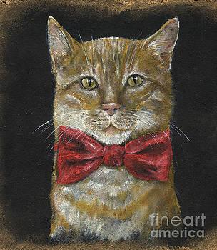 Ginger kitty in red bowtie by Angel Ciesniarska