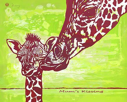 Mum's Kissing - Giraffe stylised pop art poster by Kim Wang