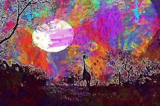 Giraffe Africa Safari Wildlife  by PixBreak Art