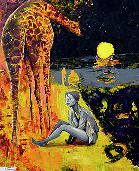 Giraffe and lady by Sergey Lutsenko