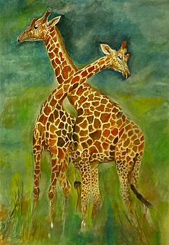 Giraffe love. by Khalid Saeed