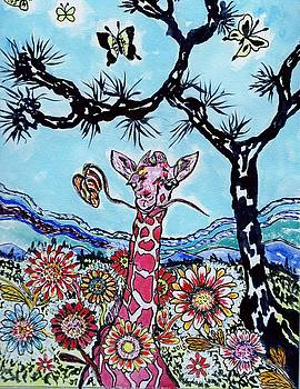 Giraffe In Garden by Connie Valasco