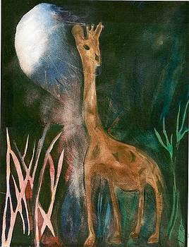Giraffe in moonlight by Denise Marie Johnson