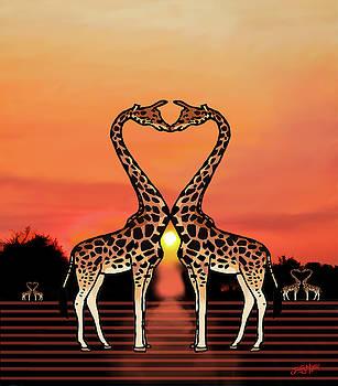 Giraffe Love by James  Mingo