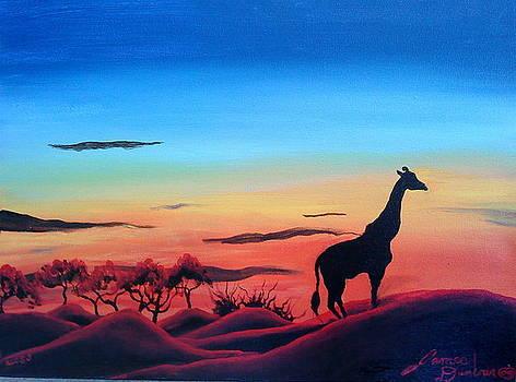 Giraffe Over The Serengeti by Portland Art Creations
