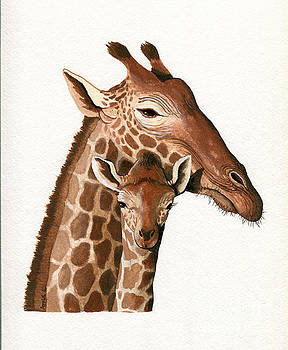 Giraffe- protect our Children wildlife painting by Linda Apple