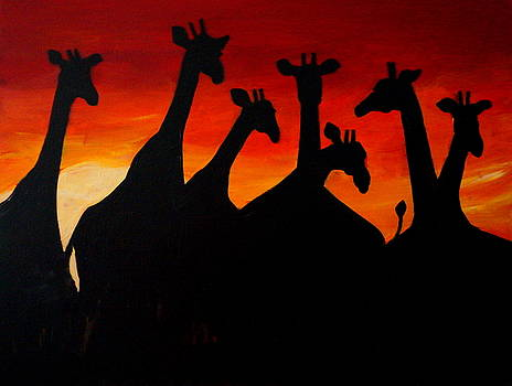 Giraffes at Sunrise by Katy Hawk