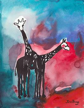 Giraffes at the Seattle Zoo by Janel Bragg