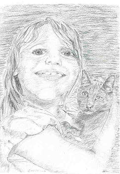 Girl and a cat by Sal Lomick