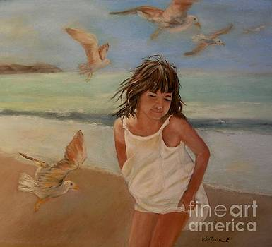 Girl and the Seagulls by Ceci Watson