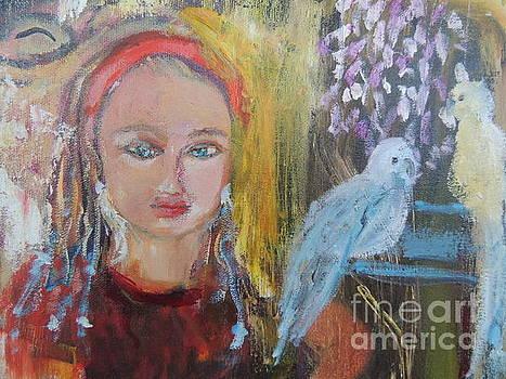 Girl Annoyed By Talking Birds by Geraldine Liquidano