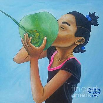 Girl drinking water Coconut by Nicholas Beckford
