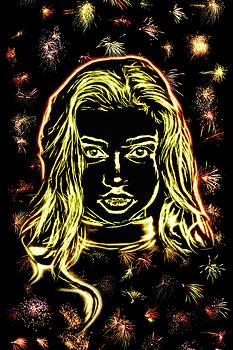 Girl fireworks by Arthur Charpentier