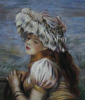 Girl in a Lace Hat 1891 by Pierre-Auguste Renoir by William Roberts