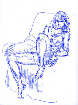 Girl In Chair by Natoly Art