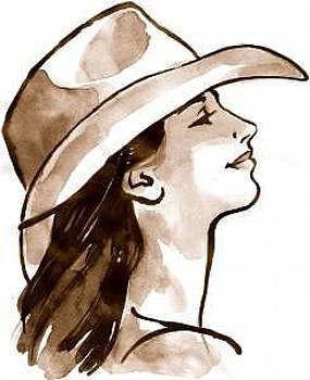 Girl In Cowboy Hat by Terry Lamb
