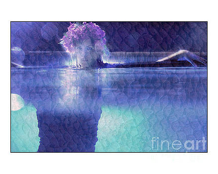Girl in pool at night by Michael Edwards