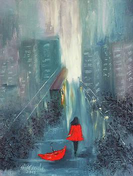 Girl in the rain Cityscape by Natalya Zhdanova
