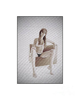 Girl in underwear sitting on a chair by Michael Edwards