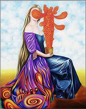 Girl kisses the orange cactus. by Tautvydas Davainis