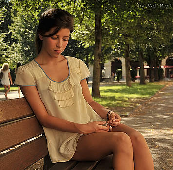 Girl On A Bench by Val Mont