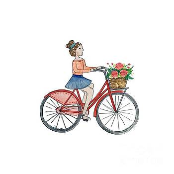 Girl on bicycle with flowers by Catalina Velasquez