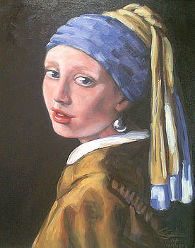 Girl with A Pearl Vermeer  by Lee Smith