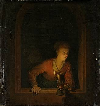Girl with an Oil Lamp at a Window by Gerard Dou