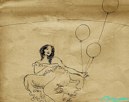 Girl With Balloons in Storm by Ocean