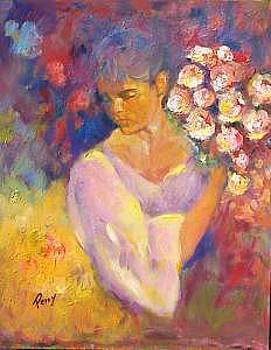 Girl With Bundle Of Flowers by Perry  Rubenstein