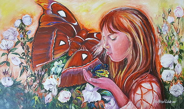 Girl with butterflies by Rita Fetisov