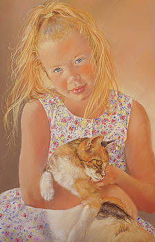 Girl With Cat by Margaret Merry