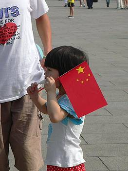 Girl with Chinese Flag by Gina S
