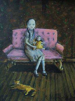Girl with doll by Mya Fitzpatrick