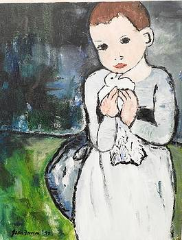 Girl with Dove, After Picasso detail by Jean Forman