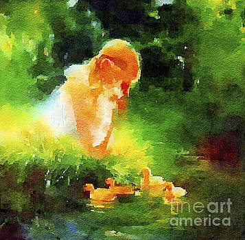 Girl with Ducklings by Rich Governali