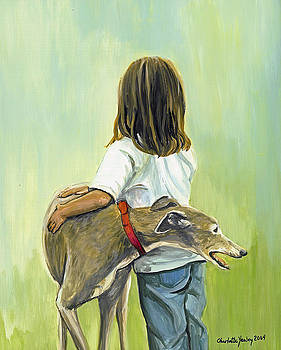 Girl with Greyhound by Charlotte Yealey