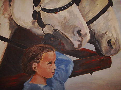 Girl with Horses by Joseph Baker