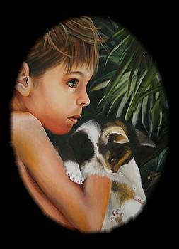 Girl with Kitten by Mary Brown